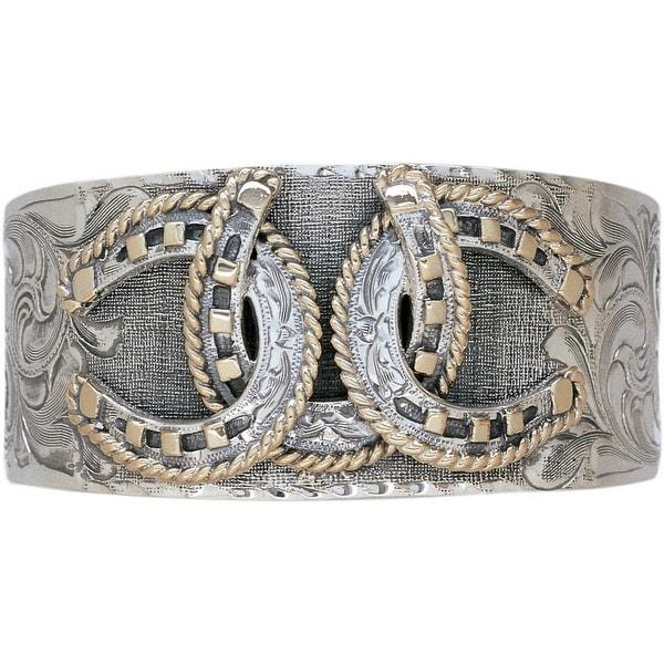 Vogt Western Women Bracelet Triple Horseshoe Cuff Silver Gold 014-027 - silver gold