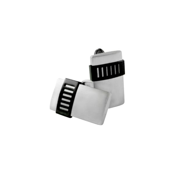 Dolan Bullock Men's Black Ion-Plated Cufflinks in Stainless Steel