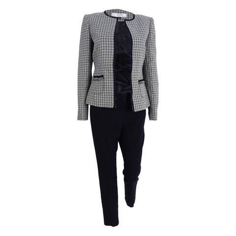 Tahari ASL Women's Flyaway Tweed Pantsuit (4, Citron/Grey/Ivory) - Citron/Grey/Ivory - 4