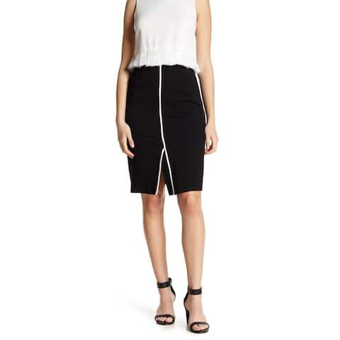 Amanda + Chelsea Black White Womens Size PXL Petite Stretch Skirt