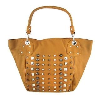 Beautiful Tan Studded Handbag Purse Braided Handles
