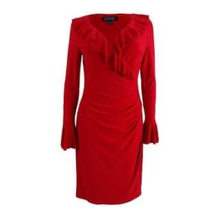 Lauren By Ralph Women S Ruffle Trim Sheath Dress