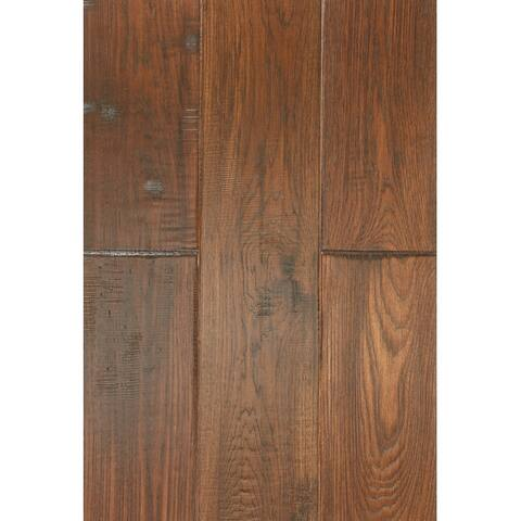East West Furniture SP-7HH01 Interlocking Wood Floor Tiles - Engineered Hardwood Flooring for Indoor, Chestnut Finish