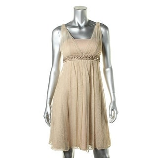 Jessica Howard Womens Petites Metallic Embellished Cocktail Dress - 6P