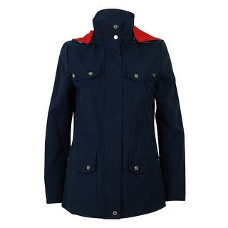 Ralph Lauren Women's Hooded Raincoat - Navy/Red
