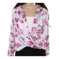 Lush Women's Medium Faux-Wrap Floral Satin Blouse