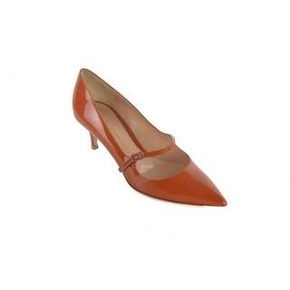 Gianvito Rossi Women's Orange Patent Leather Kitten Heel Pump