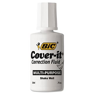 Bic Cover-It Correction Fluid, 20 ml Bottle, White, Dozen