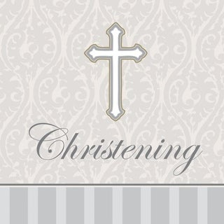 "Club Pack of 192 White and Gray ""Christening"" Devotion 3-Ply Beverage Party Napkins 5"""