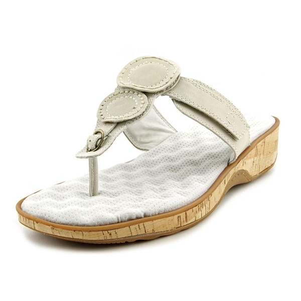 Softwalk Beaumont Laser Women Open Toe Leather White Thong Sandal