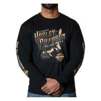 Harley-Davidson Men's Kickback Pin-Up Crew-Neck Long Sleeve Shirt - Black