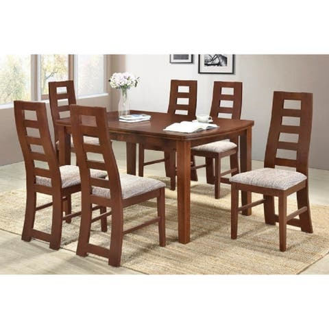 Indoor Brown Modern 7pc Dining Set with Rectangular Dining Table and 6 Box Seat Dining Chairs