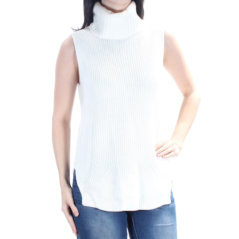 CALVIN KLEIN Womens Ivory Sleeveless Turtle Neck Hi-Lo Sweater Size: XS
