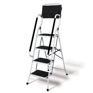Folding 4 Step Safety Step Ladder   Padded Side Handrails   Attachable Tool  Pouch Caddy