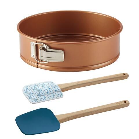 Ayesha Bakeware 9.5-Inch Springform Pan and Spatula Set, 3-Piece