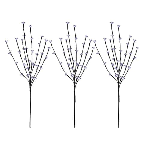 Set of 3 Pre-Lit Cherry Blossom Artificial Tree Branches 2.5' - Pure White LED Lights