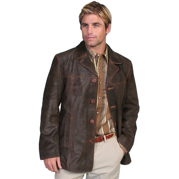 Scully Western Jacket Mens Calf Suede Button Car Coat Brown