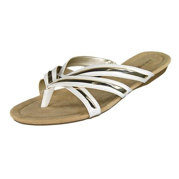 Bandolino Naccari Women Open Toe Synthetic White Thong Sandal
