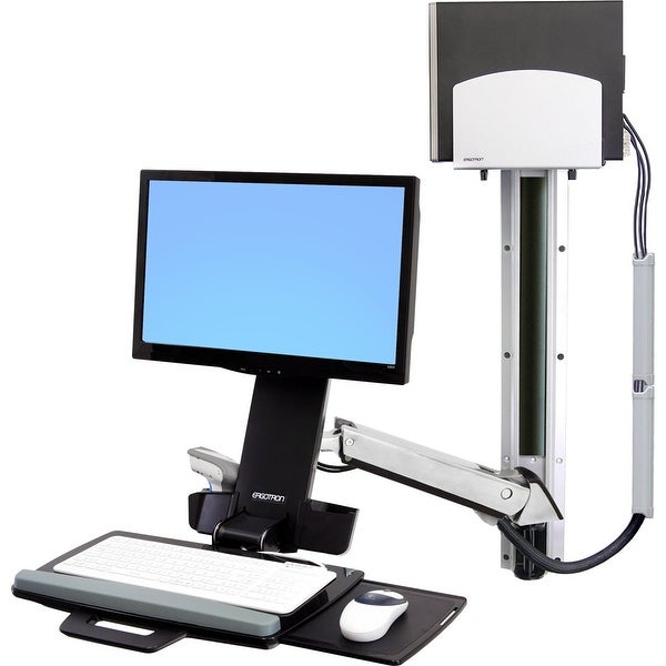 Ergotron - Ergotron Styleview Sit-Stand Combo System With Medium Silver Cpu Holder.Holds A