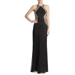 Parker Black Candice Embellished Sleeveless Evening Gown Dress Black