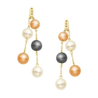 Multi-Color Freshwater Pearl Drop Earrings in 10K Gold with Diamonds