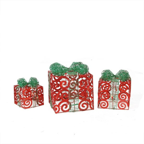 Set of 3 Lighted Sparkling Red Swirl Glitter Gift Boxes Christmas Outdoor Decorations