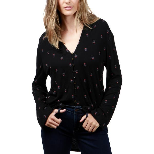 a9b1fd9982b1fe Lucky Brand Womens Button-Down Top Knit Floral Print - XL. Image Gallery