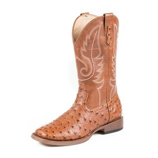 Roper Western Boots Men Square Toe Ostrich Tan