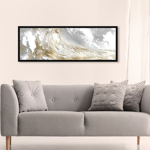 Oliver Gal 'Wave in a Moment Gold' Nautical and Coastal Framed Wall Art Prints Coastal Landscapes - Gold, White