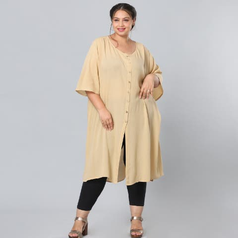 Beige Rayon Top with Front Closure with Button-L/XL Breathable - L/XL