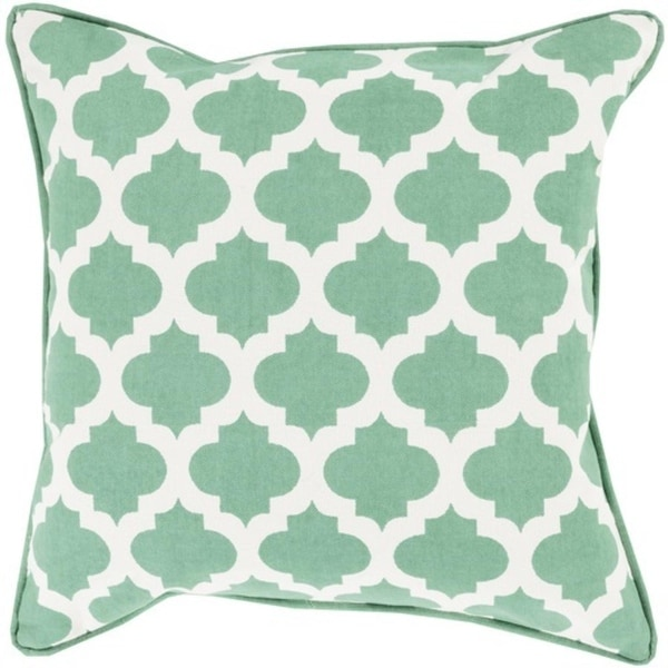 """22"""" Seafoam Green and Ivory Mesmerizing Morrocan Decorative Throw Pillow - Down Filler"""