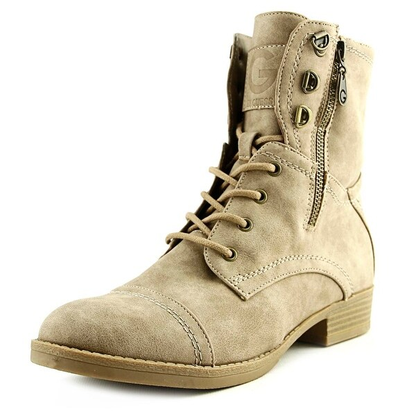 G By Guess Fleek Women Round Toe Synthetic Tan Combat Boot