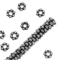 TierraCast Rhodium Plated Pewter Daisy Spacer Beads 3mm (x 50)