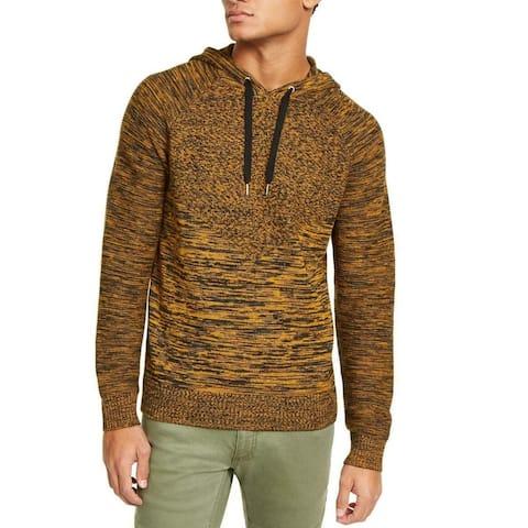 INC Mens Sweater Black Gold Splendor Size XL Hooded Marled Knit Spacedye