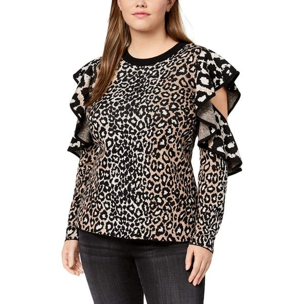 bc627125ac3251 Shop RACHEL Rachel Roy Brown Women 1X Plus Animal-Print Ruffled ...