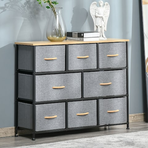 HOMCOM 8-Drawer Dresser, 3-Tier Fabric Chest of Drawers, Storage Tower Organizer Unit with Steel Frame Wooden Top for Bedroom