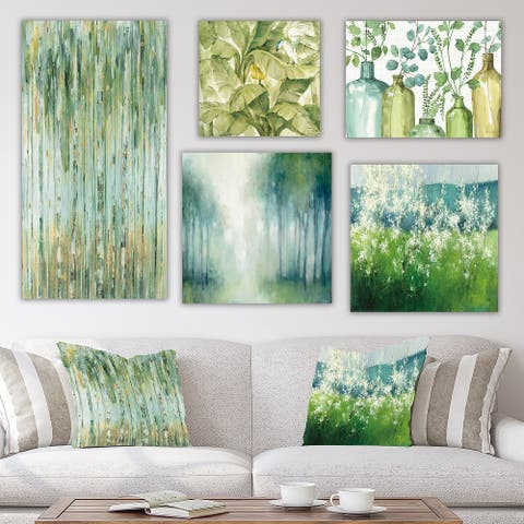 Designart 'Green Forest Collection' Traditional Wall Art set of 5 pieces - Green