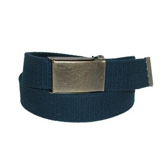 CTM® Men's Fabric Belt with Brass Flip Top Buckle