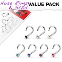 7 Pcs Value Pack of Assorted 316L Surgical Steel Press Fit Gem Nose Screw