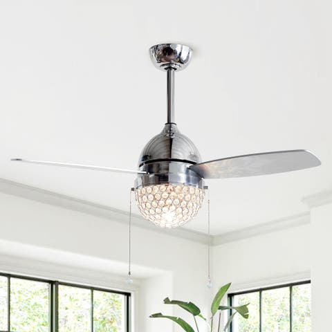 42-in Small 3-Blades Crystal Ceiling Fan with Pull Chain