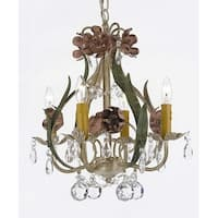 Floral Wrought Iron and Crystal 4 Light Chandelier Pendant Lighting with Faceted Crystal Balls