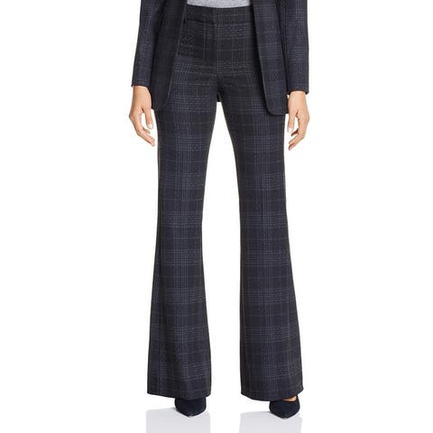 Elie Tahari Womens Anna Wide Leg Pants Plaid High Rise - Grey Multi