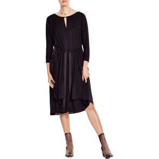 Free People Womens Casual Dress Keyhole Neck 3/4 Sleeves
