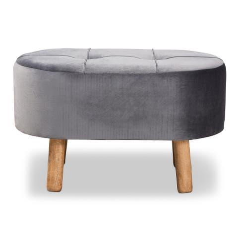 Simone Mid-Century Modern Grey Velvet Fabric Upholstered Wood Ottoman