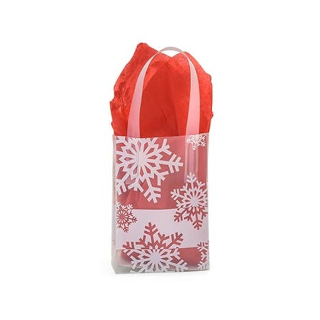 """Pack of 200, Jewel Snowflake Flurry Plastic Bags 4 Mil Shopping Bags 4 X 2 X 5.25"""" For Christmas Packaging"""