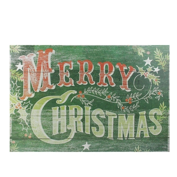 "19.75"" Festive Green and Red Antiqued Merry Christmas Wall Hanging Sign"