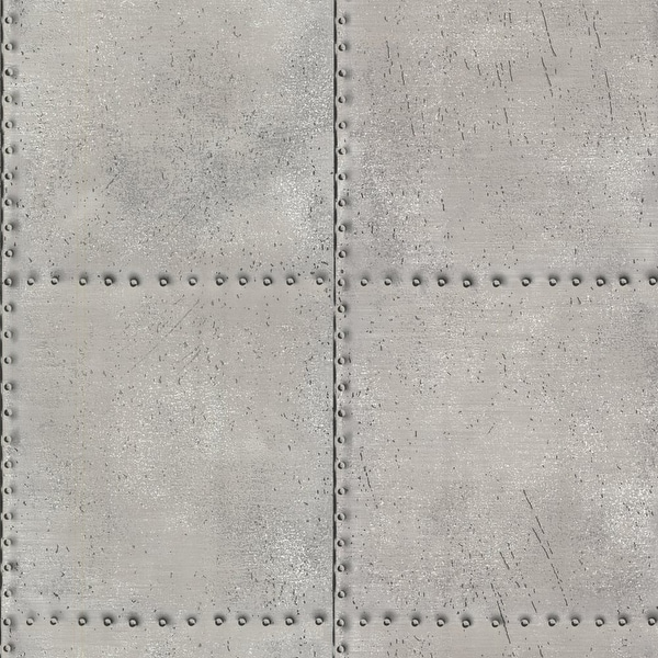 Brewster 2604-21252 Riveted Silver Industrial Tile Wallpaper - silver tile - N/A