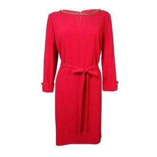 Tahari Women's Shannon Chain-Detailed Belted Crepe Dress - 14