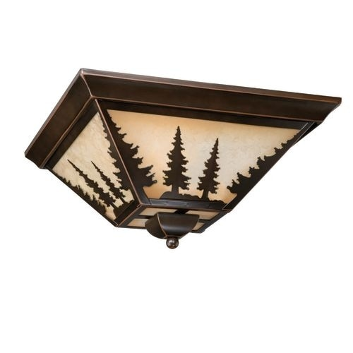 Vaxcel Lighting CC55514 Yosemite 3 Light Flush Mount Indoor Ceiling Fixture with Tree Portrait Glass Shade - 14 Inches Wide