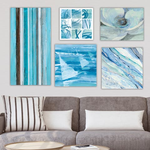 Designart 'Shades of Blue Collection ' Abstract Wall Art set of 5 pieces